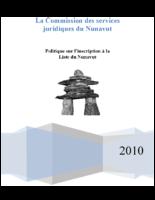 Politique sur l'inscription à la Liste du Nunavut